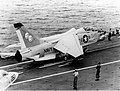 TF-8A Crusader during trials on USS Independence (CVA-62) 1962.jpeg