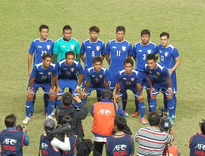 Taiwan against Cambodia at a friendly match on 8 October 2014 TPE football team 20141008.jpg