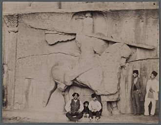 Taq Bostan - An old photo taken at Taq-e Bostan during late Qajar period