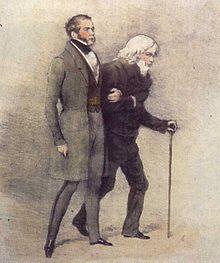 Gravure en couleurs représentant deux hommes de trois-quarts, marchant en se tenant le bras. Celui de gauche et au premier plan, à cheveux et favoris noirs, est vêtu d'un pantalon et d'un manteau gris ; il marche en se tenant droit. Celui de droite et au second plan, à cheveux bouclés et blancs, est vêtu d'un pantalon et d'un manteau noir ; il marche courbé sur une cane.