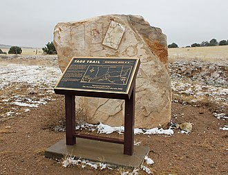 Taos Mountain Trail - A historical marker memorializing the trail, located on County Road 520 in Huerfano County, Colorado.