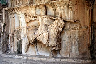 Cataphract - Sculpture of a Sasanian cataphract in Taq-e Bostan, Iran: One of the oldest depictions of a cataphract.