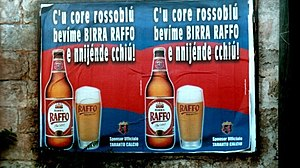 Tarantino dialect - Advert in the Tarantino dialect for a local beer.