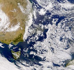 Image satellite de la mer de Tasman.