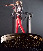 Taylor on the crane above the audience