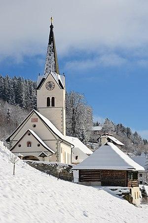 Sacristan house and parish church Saint Martin in Sankt Martin, Techelsberg, Carinthia, Austria