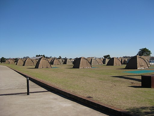 Tents on Cockatoo Island in June 2010
