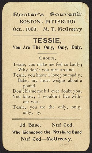 Tessie - Rooter's Souvenir Card from Boston – Pittsburg, Oct., 1903.