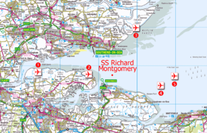 "Thames Estuary Airport - Locations of proposed Thames Estuary airports, from west to east: 1. Cliffe; 2. Grain (Thames Hub); 3. Maplin Sands, Foulness; 4. Off the Isle of Sheppey; 5. Shivering Sands (""Boris Island"") with the exclusion zone around the wreck of SS Richard Montgomery."