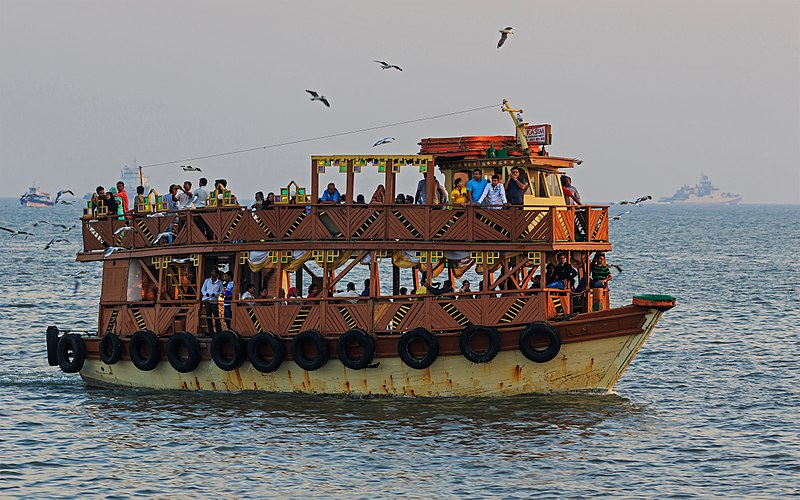 File:Thane Creek and Elephanta Island 03-2016 - img36 ferry near Gateway of India.jpg