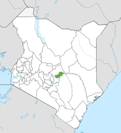 Location of Tharaka-Nithi County (Green)