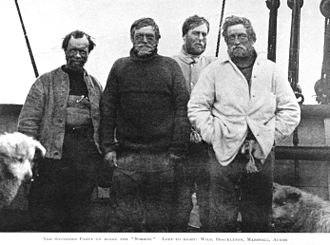 Antarctica - Nimrod Expedition South Pole Party (left to right): Wild, Shackleton, Marshall and Adams