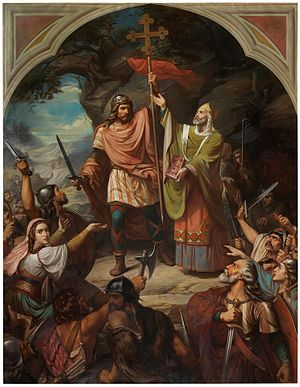 Battle of Covadonga - King Pelayo at the Battle of Covadonga