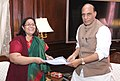The Chairperson, National Commission for Women, Ms. Lalitha Kumaramangalam calling on the Union Home Minister, Shri Rajnath Singh, in New Delhi on November 18, 2014.jpg