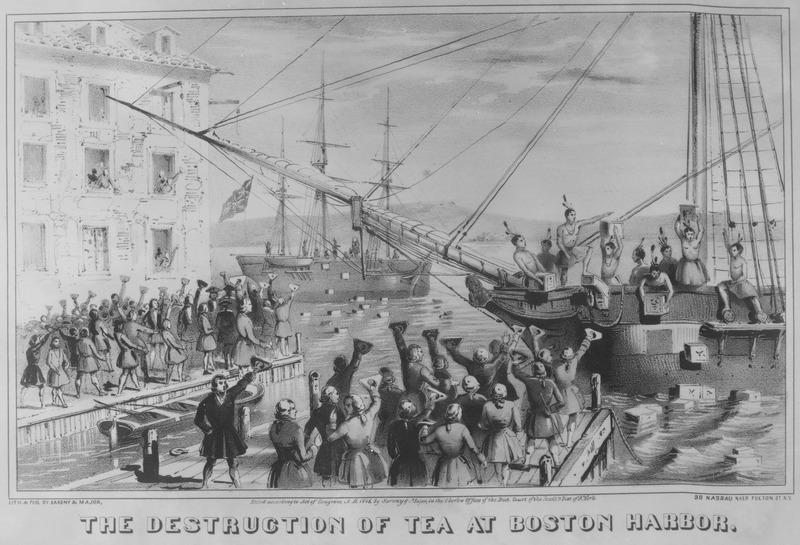 File:The Destruction of Tea at Boston Harbor. 1773. Copy of lithograph by Sarony & Major, 1846., 1931 - 1932 - NARA - 532892.tif