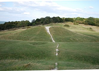 Devil's Humps, Stoughton - View across the Devil's Humps from the summit of Barrow A at the southwestern end. Barrows B, C and D are all visible, together with a possible pond barrow in front of Barrow B.