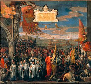 Contarini - Doge Andrea Contarini returning victorious from the War of Choggia in 1380 (Palazzo Ducale)