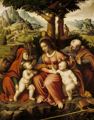 Cesare Magni - The Holy Family with St Elizabeth and St John the Baptist by Cesare Magni, Attingham Park, Shropshire