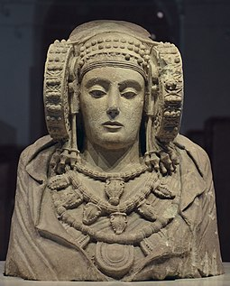 The Lady of Elche, possibly depicting Tanit, from Carthaginian Iberia, 4th century BC The Lady of Elche, once polychrome stone bust discovered by chance in 1897 at L'Alcudia, believed to be a piece of Iberian sculpture from the 4th century BC, National Archaeological Museum of Spain, Madrid (20098349590).jpg