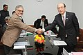 The Minister of Land, Infrastructure, Transport and Tourism (MLIT), Government of Japan, Mr. Takeshi Maeda meeting the Union Minister for Road Transport and Highways, Dr. C.P. Joshi, in New Delhi on January 12, 2012.jpg