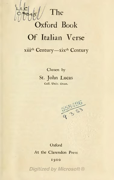 File:The Oxford book of Italian verse.djvu
