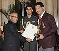 The President, Shri Pranab Mukherjee presenting the Arjuna Award for the year-2012 to Shri Yuvraj Singh for Cricket, in a glittering ceremony, at Rashtrapati Bhavan, in New Delhi on August 29, 2012.jpg