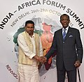 The President of Chad, Mr. Idriss Deby being received by the Minister of State for Human Resource Development, Prof. (Dr.) Ram Shankar Katheria, on his arrival, in New Delhi on October 27, 2015.jpg