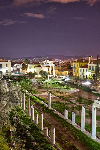 Athens - The Roman Agora and the Gate of Athena in Plaka district.