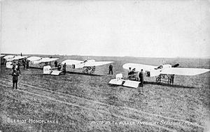 Royal Flying Corps - RFC Bleriot XI monoplanes at Netheravon, 1914
