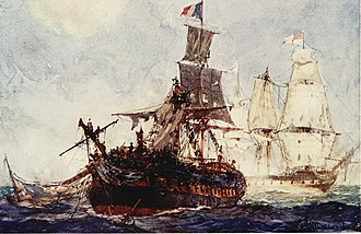 Action of 10 August 1805 - The battered Didon about to strike her colours