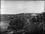 The Scone Hotel with river and steam train (3129029849).jpg