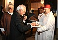 The Vice President, Shri M. Hamid Ansari receiving a traditional welcome at the banquet hosted by the Prime Minister of Morocco, Mr. Abdelilah Benkirane, in Rabat, Morocco on May 31, 2016.jpg
