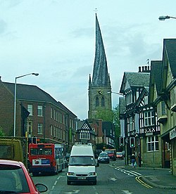 The famous wonky spire of Chesterfield, and half-timbered houses - geograph.org.uk - 15906.jpg