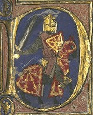 Theobald I of Navarre - Miniature of Theobald with the arms of Navarre