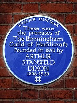 These were the premises of the birmingham guild of handicraft founded in 1890 by arthur stansfeld dixon 1856 1929