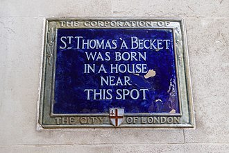 Thomas Becket - Plaque marking Becket's birthplace along Cheapside