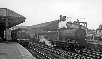 Thornaby railway station - Down freight and a Diesel light-engine in 1961