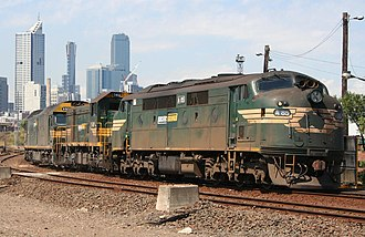 Diesel locomotive - These Pacific National-operated locos show three styles of diesel locomotive body: box cab (rear), hood unit (center) and cab unit (front).