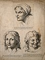 Three faces; expressing desire (top) and peaceful joy (botto Wellcome V0009405.jpg