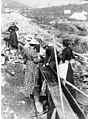 Three women, one identified as Ethel Berry, operating a sluice at a mining claim, Eldorado Creek, Yukon Territory, ca 1898 (CURTIS 1349).jpeg
