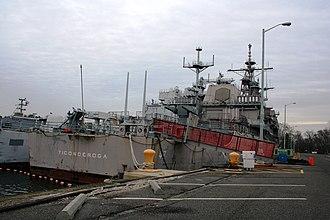 USS Ticonderoga (CG-47) - The former USS Ticonderoga at berth at the Philadelphia Naval Inactive Ship Maintenance Facility in January 2008.