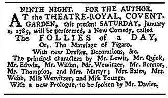The Marriage of Figaro (play) - Advertisement for the first English production, which opened in December 1784