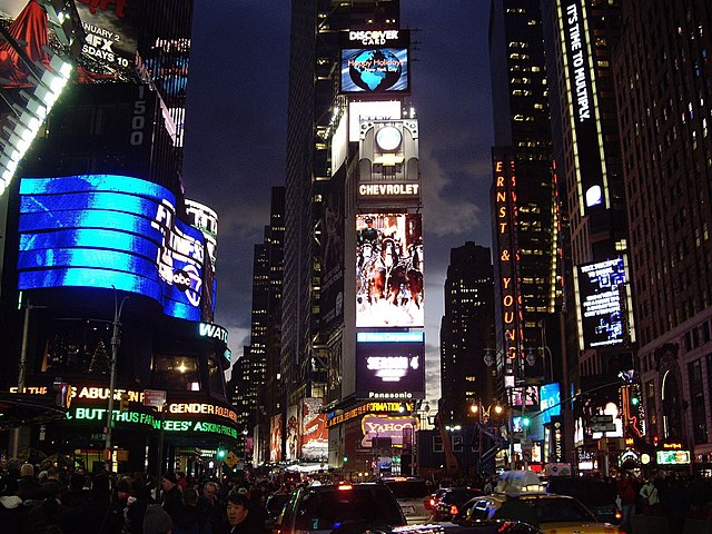 see: Times Square at night, (New York)