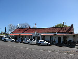 Murray River Flag - The Upper Murray flag flying above the historic Tintaldra Hotel, Tintaldra, Victoria.(2008)