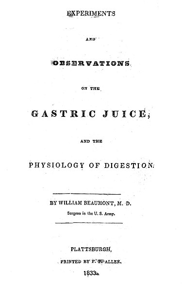 File:Title page of Experiments...on the Gastric Juice. Wellcome L0004272.jpg