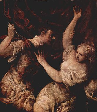 Tarquin and Lucretia - Loose or  unfinished variant in Vienna, perhaps by Titian, 114 × 100 cm (44.9 × 39.4 in)