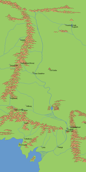 Anduin - Map of the river Anduin and surrounding areas