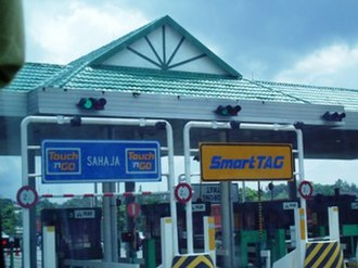 North–South Expressway (Malaysia) - Toll plaza with Smart TAG and Touch 'n Go lanes