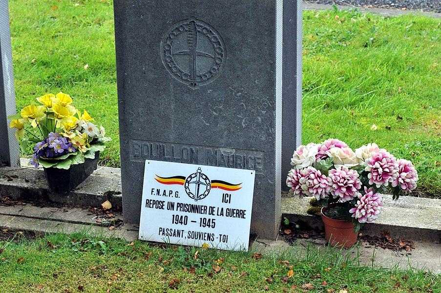 Tombeau Maurice Bouillon au cimetière de la F.N.A.P.G. dans la commune de Sainte-Ode.