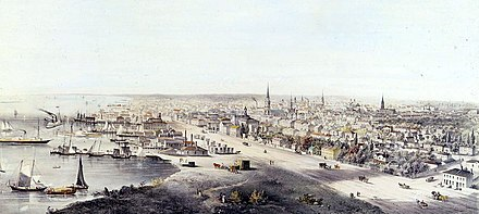 View of Toronto in 1854. Toronto became a major destination for immigrants to Canada in the second half of the 19th century. TorontoCanadaWest.jpg